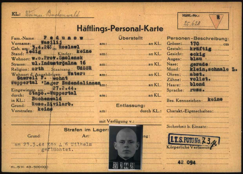 Fig.1.1: Prisoner registration card (1.1.5.3/5843021/ITS Digital Archives, Bad Arolsen)