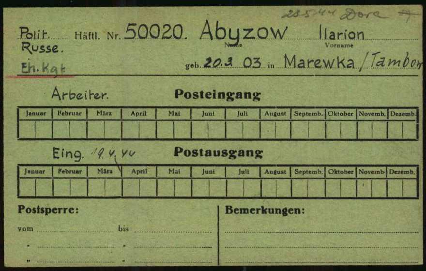 Fig. 1.2: Post control card (1.1.5.3/5407544/ITS Digital Archives, Bad Arolsen)
