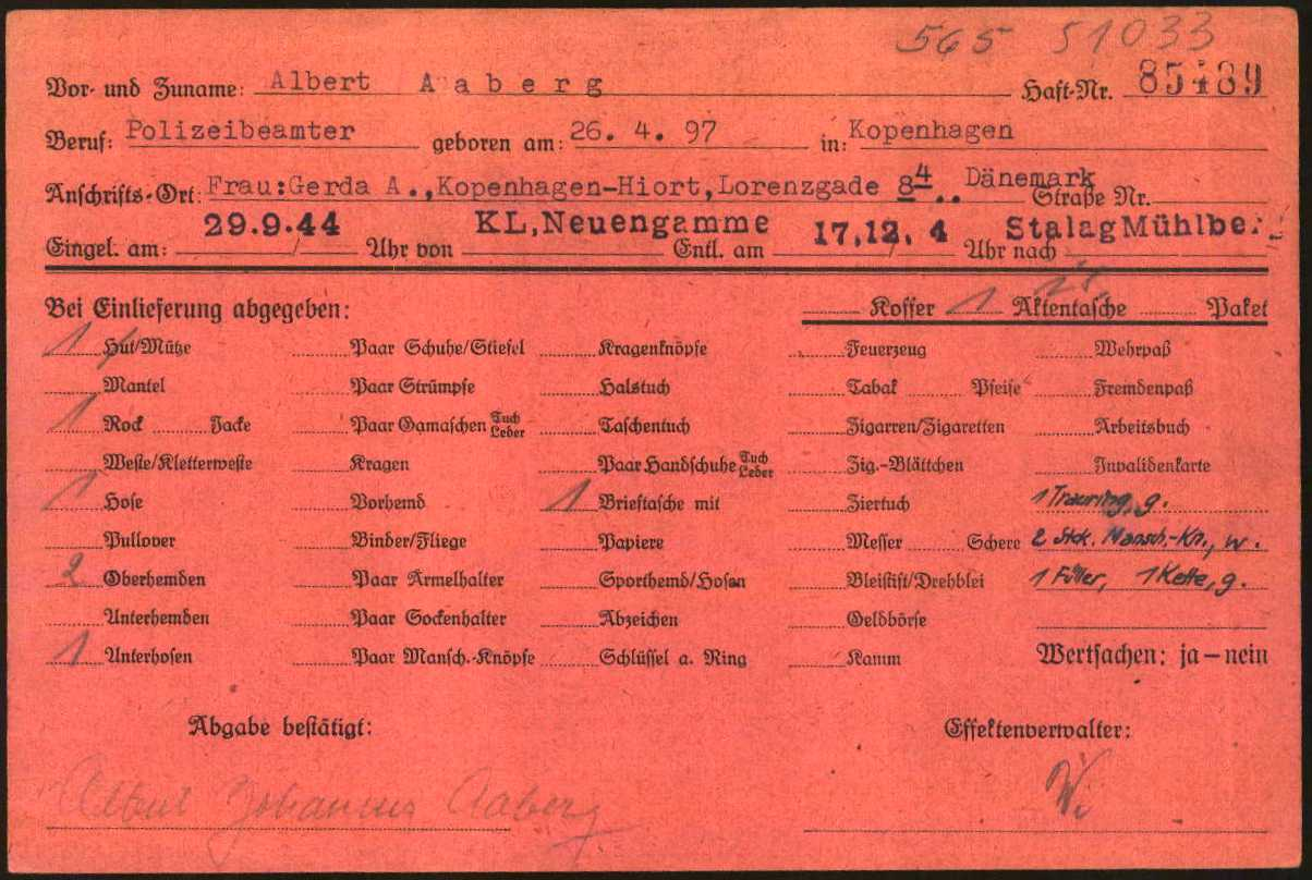 Fig. 1.3: Personal effects card (1.1.5.3/5403154/ITS Digital Archives, Bad Arolsen)