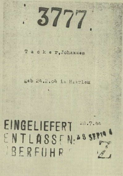 "Fig. 2: Transport card from the Polizeiliches Durchgangslager Amersfoort with a ""Z"" stamped on it. (1.1.1.2/85484/ITS Digital Archives, Bad Arolsen)"