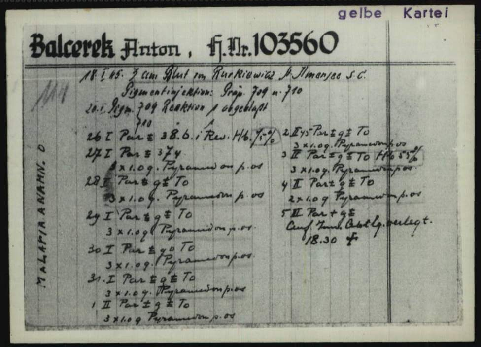 "Fig. 5: ""Malaria card"" for the Dachau concentration camp inmate Anton Balcerek who died as a result of the experiment conducted on him. The ITS is not in possession of the original cards but of the microfilm versions. (1.1.6.9/10793485/ITS Digital Archives, Bad Arolsen)"