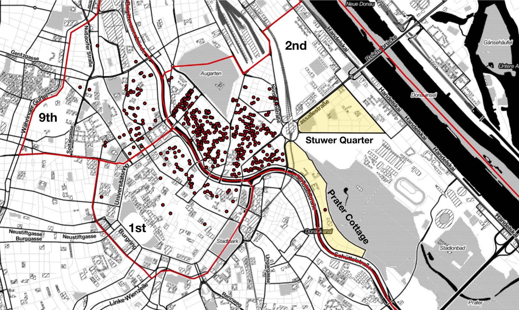 Fig. 5: Last-known place of residence for Holocaust victims before their deportation in the inner districts of Vienna showing a concentration in specific areas of those districts along the Danube canal (February 1941 – October 1942).
