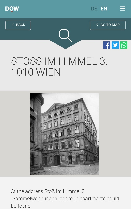 Fig. 6: Memento Vienna, Address Stoß im Himmel 3, the last place of residence for 93 victims of the Holocaust.