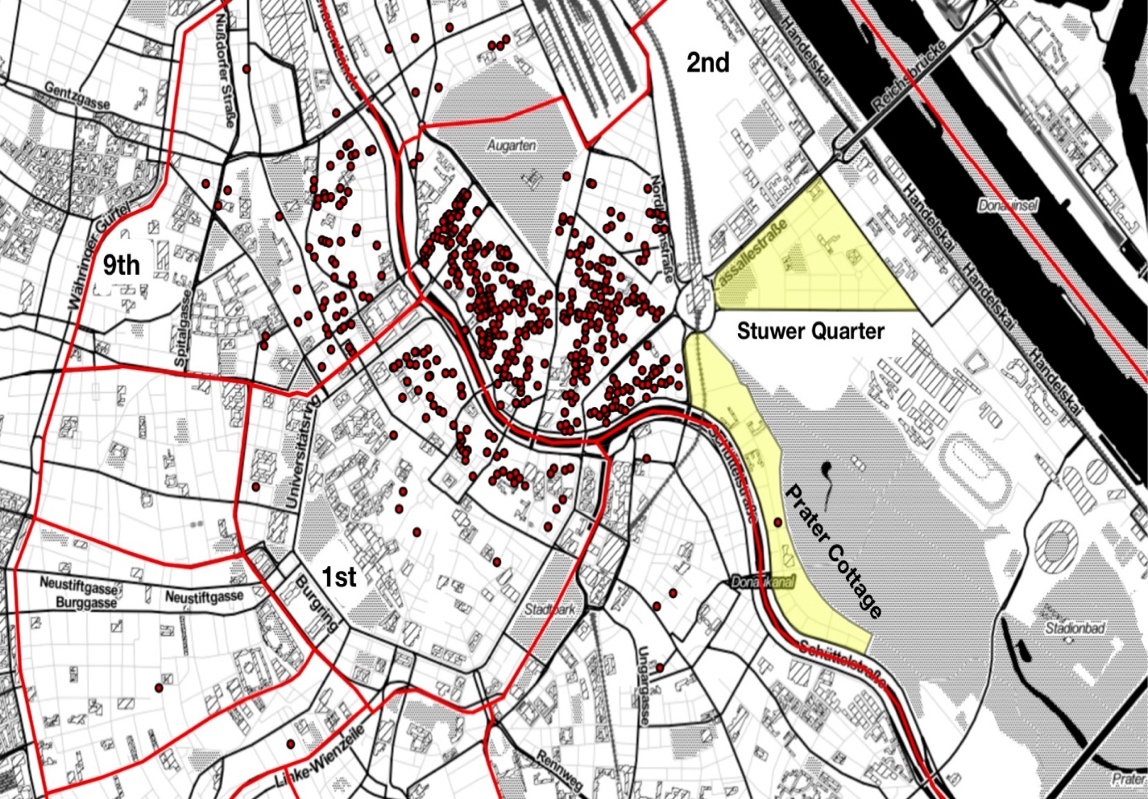 "Fig. 7: ""Jewish houses,"" which held more than 25 Holocaust victims over the course of the war, in the 1st, 2nd and 9th district showing the further concentration of Jews in one area – in stark contrast to the Stuwer Quarter and Prater Cottage areas (February 1941 – October 1942)."