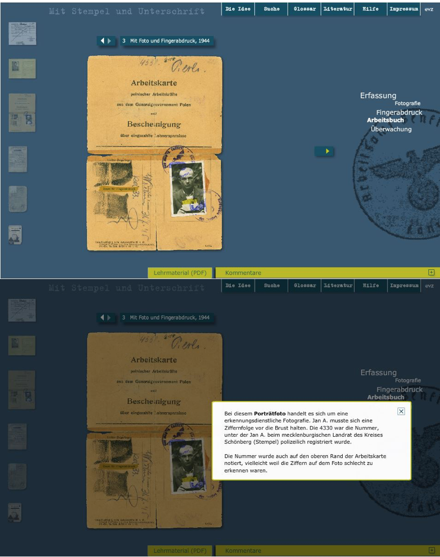 Fig. 3: On the website www.mit-stempel-und-unterschrift.de the explanation is offered as pop-up window, activated by a click on the highlighted areas on the labor card (Arbeitskarte) of a forced laborer.