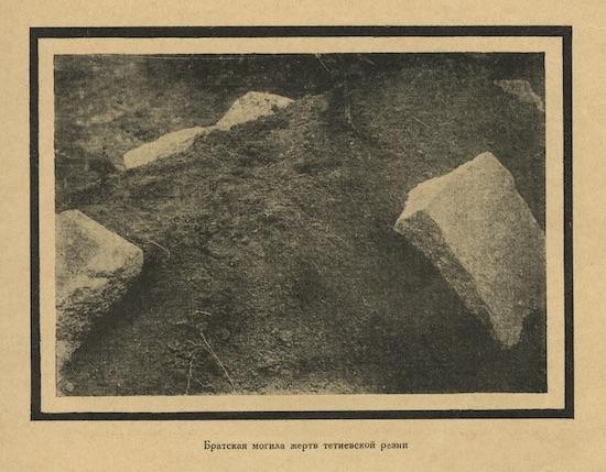 """Fig. 1: """"Tetiev, Mass grave"""", in Z. S. Ostrovskii, Evreiskie pogromy, 1918-1921 (Moscow: Shkola i kniga 1926), 131.  Courtesy of the Blavatnik Archive, New York."""
